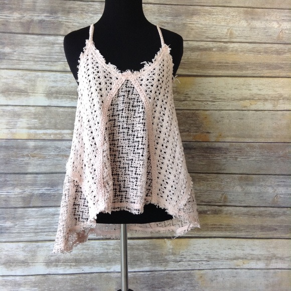 cffb28beba462 Free People Tops - Free People open knit peachy pink black cami Small